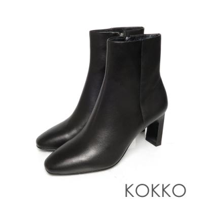 KOKKO完美顯瘦方頭小牛皮扁跟短靴霧黑色