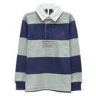 Ralph Lauren 小童小馬寬版條紋長袖POLO衫-藍/灰(5歲)