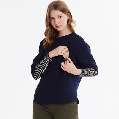 【mamaway 媽媽餵】連袖假兩件孕哺罩衫(共2色)