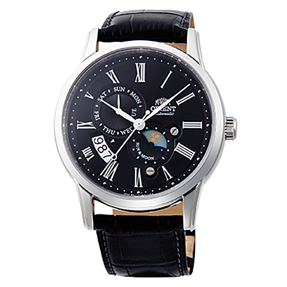 ORIENT 日月相鏤空藍寶石手動機械錶(SAK00004B0)-黑面x41mm