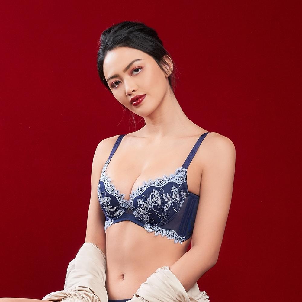 黛安芬-蝴蝶美型系列 包覆高脅邊 D-E罩杯內衣 深藍色
