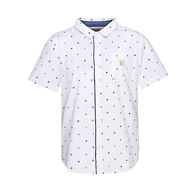 FILA 男款短袖襯衫-白色 1WST-1705-WT