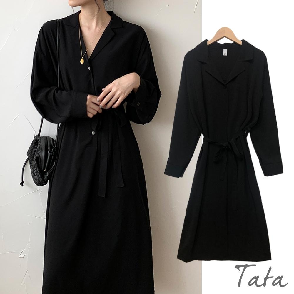 胸前排扣下擺開岔綁帶洋裝 TATA PLUS-(M~2XL) (黑色)