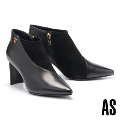 踝靴 AS 摩登時髦異材質拼接全真皮尖頭高跟踝靴-黑