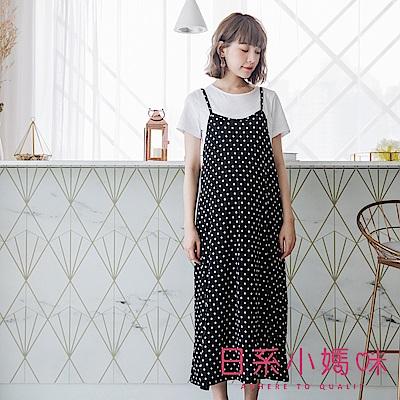 日系小媽咪孕婦裝-韓製孕婦裝~二件式涼感滑布點點後腰抽繩吊帶洋裝