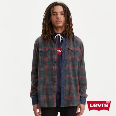 Levis 男款 法藍絨格紋襯衫 丹寧拼接細節