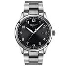 TISSOT天梭紳士XL經典石英手錶-黑x銀/41mm