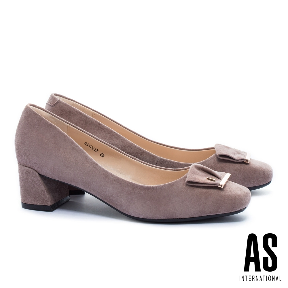 高跟鞋 AS 金屬反折帶釦全真皮方頭高跟鞋-杏