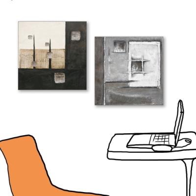 24mama掛畫-二聯式 藝術抽象 油畫風無框畫 50X50cm-現代上班族