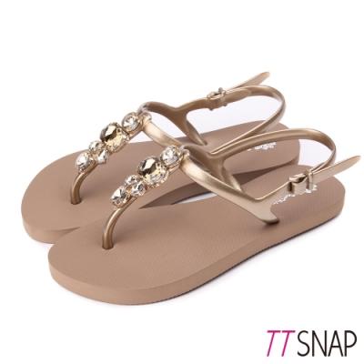 TTSNAP涼鞋-經典水鑽夾腳防水鞋 金