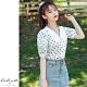 艾米蘭-娃娃領波點泡泡袖造型上衣-2色-(S-2XL) product thumbnail 1
