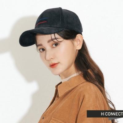 H:CONNECT 韓國品牌 配件 - 電繡字樣絨面棒球帽-黑(快)