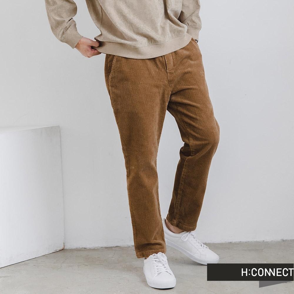 H:CONNECT 韓國品牌 男裝-燈芯絨抽繩直筒褲-卡其色