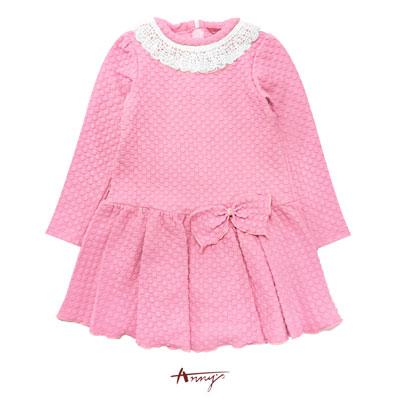 Anny夢幻甜美系針織蕾絲珍珠壓紋洋裝*6402粉