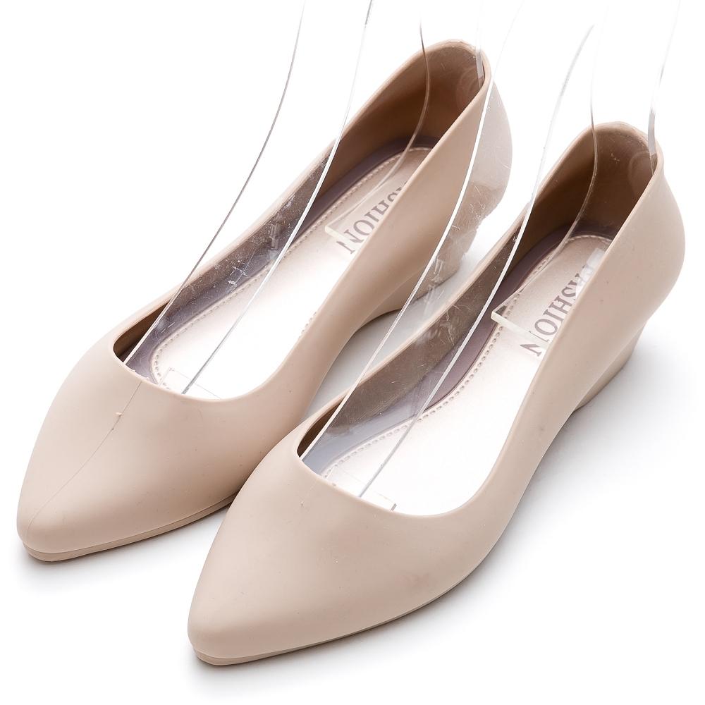 River&Moon防水鞋 晴雨二穿超Q軟極簡素面尖頭楔型跟鞋 裸膚米