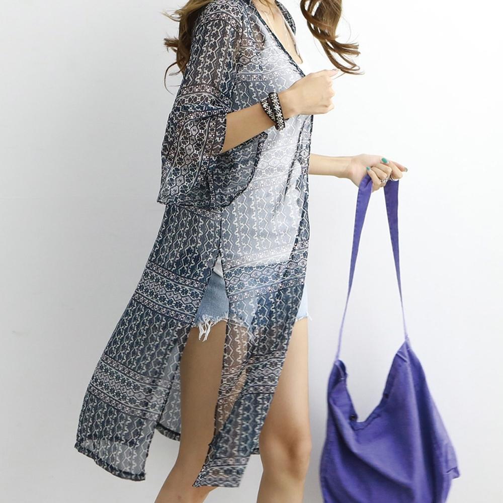 正韓 復古風印花雪紡喇叭袖罩衫 (共二色)-N.C21