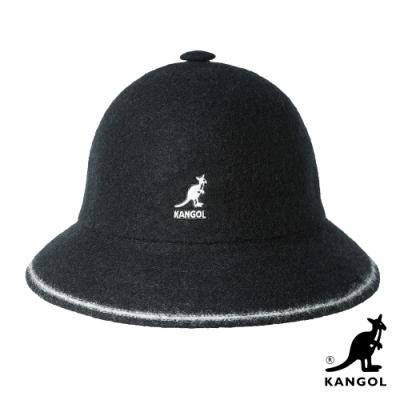 KANGOL-WOOL STRIPE鐘型帽-黑色