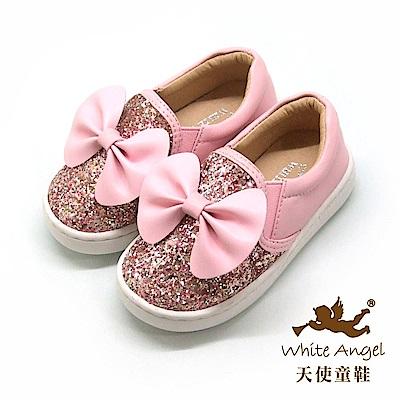天使童鞋 俏麗亮點大蝴蝶休閒鞋(小童) D8038A-粉