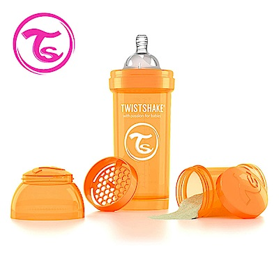 Twistshake 瑞典時尚 彩虹奶瓶/防脹氣奶瓶260ml/奶嘴口徑0.5mm-太陽橘