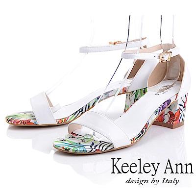 Keeley Ann夏日花卉 全真皮中粗跟後扣帶涼鞋(白色-Ann系列)