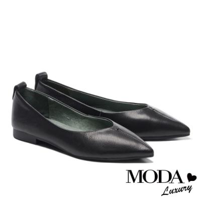 低跟鞋 MODA Luxury 純色極簡主義全真皮低跟鞋-黑
