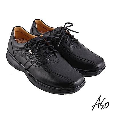 A.S.O機能休閒 超能耐II代異材搭配綁帶商務休閒鞋-黑