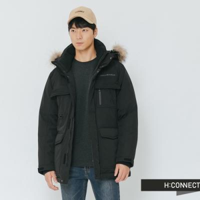 H:CONNECT 韓國品牌 男裝-雙口袋連帽羽絨外套-黑(快)