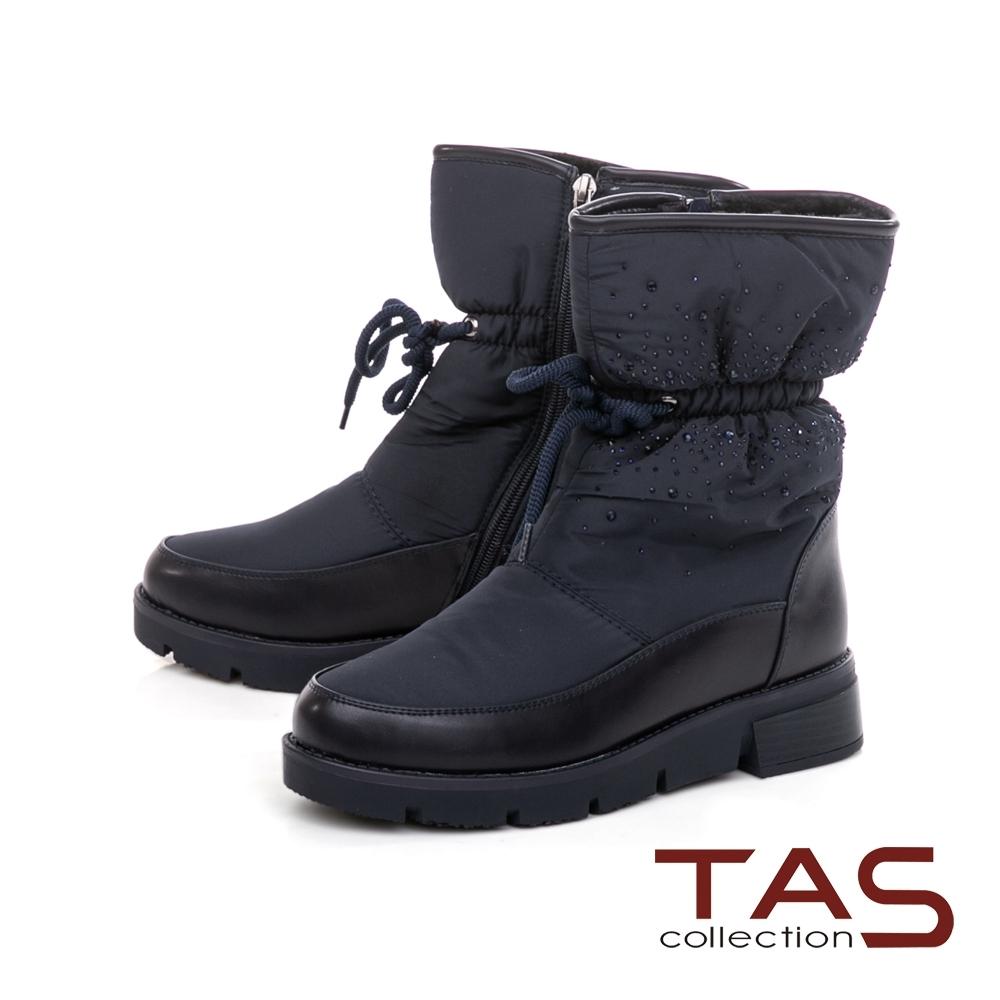 TAS素面防潑水拼接水鑽束口造型雪地靴-焦點藍