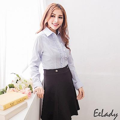 EELADY-OL條紋荷葉邊長袖襯衫(藍色)