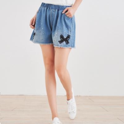 【白鵝buyer】 蝴蝶結珍珠拼接單寧短褲_淺藍