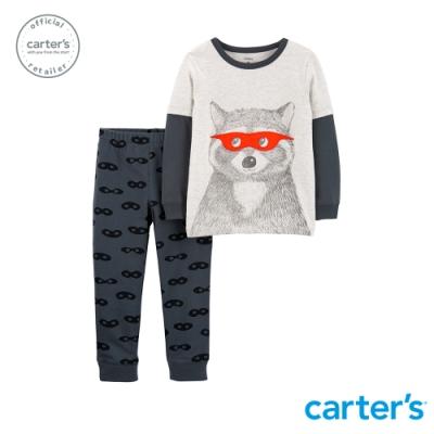 Carter's台灣總代理 可愛浣熊上衣2件組套裝