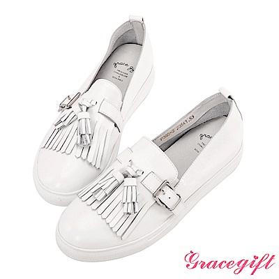 Grace gift-全真皮流蘇金屬帶釦懶人鞋 白