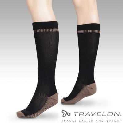 【Travelon】銅離子除臭壓力襪TL-13472黑/刺激血液循環/舒緩腫脹/日常休閒/旅行運動者適用