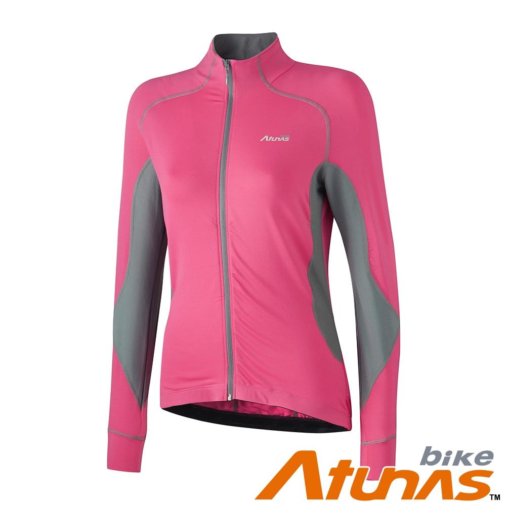 【Atunas 歐都納 Bike】女款防曬吸濕排汗風韻俐落長袖車衣B11034W桃紅深灰/外套式