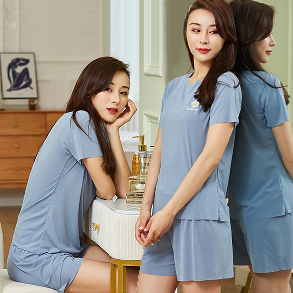 悠美學-日韓精梳棉居家休閒個性圓領純色造型套裝-5色(F)