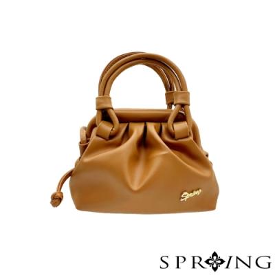 SPRING-飄飄雲朵復古夾子包-氣質橘棕