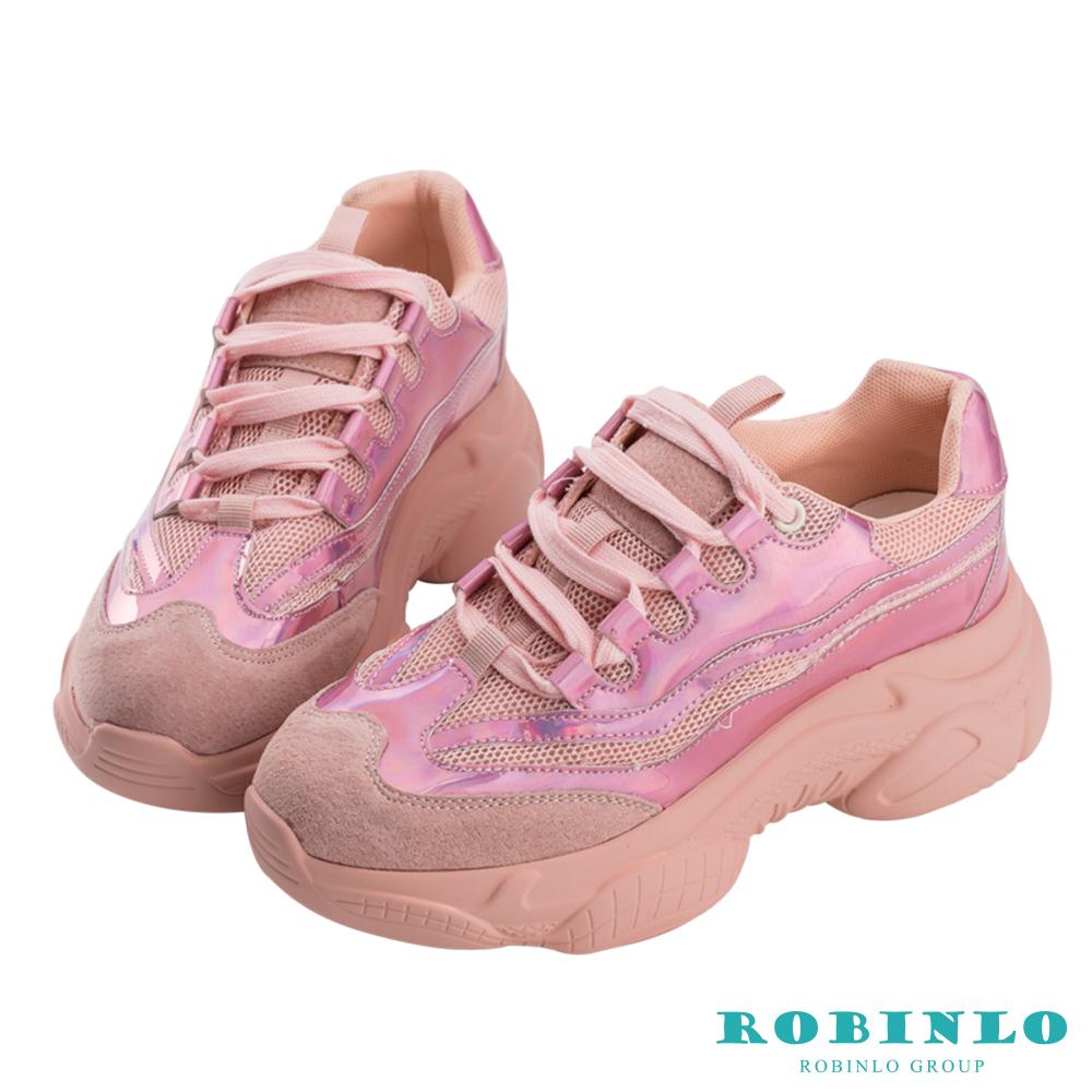 Robinlo 造型絢彩反光厚底老爹鞋 粉