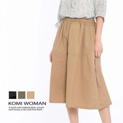 【KOMI】棉側抽繩鬆緊寬褲‧三色