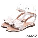 ALDO 原色真皮荷葉金屬釦帶繫踝涼鞋~氣質白色