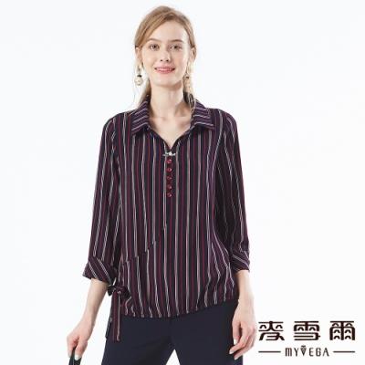 【麥雪爾】俐落率性直條紋蝴蝶結上衣