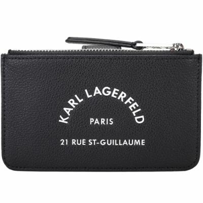 KARL LAGERFELD Rue St Guillaume 住址系列小牛皮釦式卡片夾/零錢包(黑色)