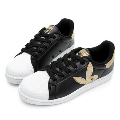 PLAYBOY簡約兔頭休閒貝殼鞋-黑金-Y6226C5