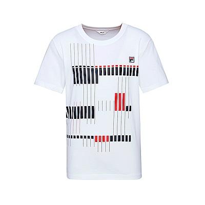 FILA 男款短袖圓領T恤(合身版)-白色 1TET-1515-WT