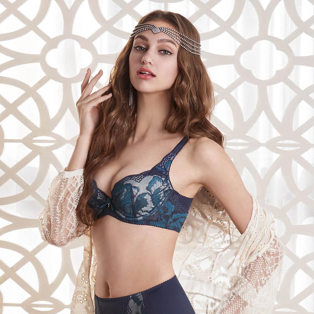 曼黛瑪璉 包覆提托雙弧  D-G罩杯內衣(星塵藍)
