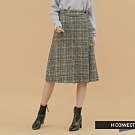 H:CONNECT 韓國品牌 女裝 - 側扣格紋中長裙  - 灰