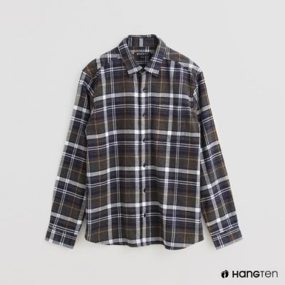 Hang Ten - 男裝 - 經典英倫配色格紋長袖襯衫 - 灰