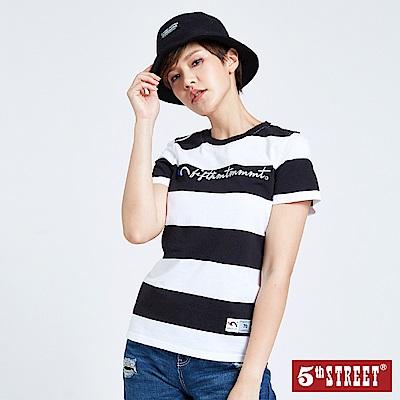 5th STREET 休閒寬條紋LOGO短袖T恤-女-黑色