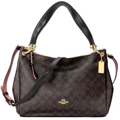 COACH Mia Shoulder Bag深咖啡C Logo黑邊肩背/斜背包