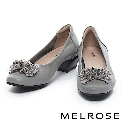 低跟鞋 MELROSE 華麗優雅水鑽蝴蝶結全真皮方頭低跟鞋-灰