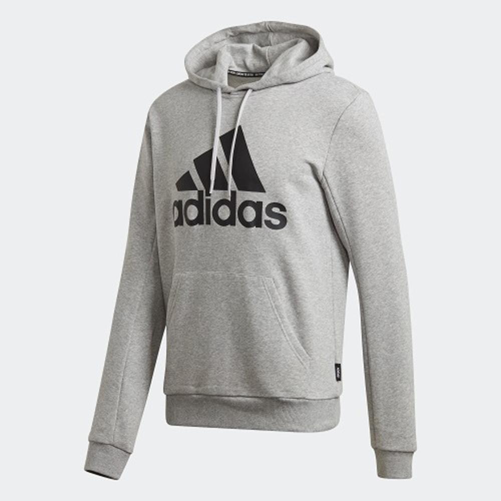 adidas 帽T 長袖上衣 連帽 運動 男款 灰 GC7341